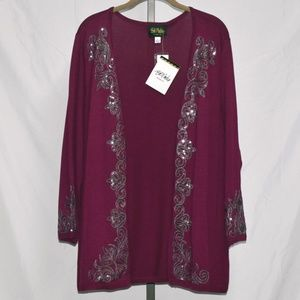 Open Front Cardigan with Sequin Detail #1763